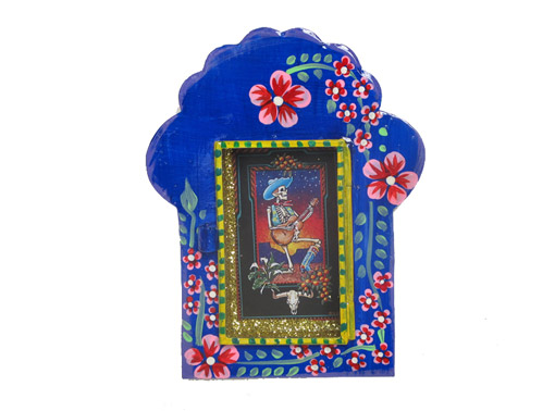 Mexican Tin Nicho, Skeleton Guitarist, in hand-painted, blue frame, 6-inch
