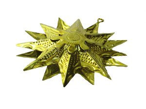Tin Star Ornament, yellow, 6-inch with 16 points
