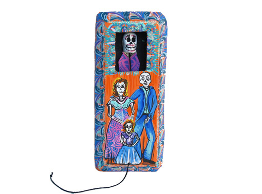 Coffin Toy with Family, papier maché