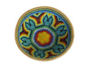 Huichol Art Gourd Prayer Bowl, #3, 14 cm. diameter