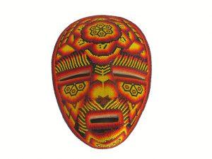 Huichol Art Beaded Mask, Wall Decor, wooden base, #3, 8.5-inch tall