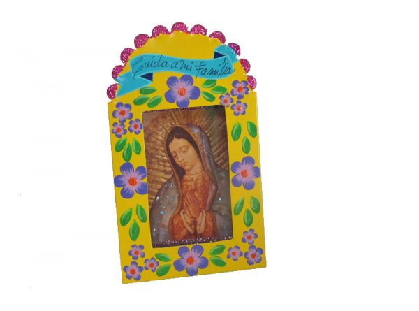Mexican Tin Nicho, yellow frame w/ Lady of Guadalupe, 6-inch