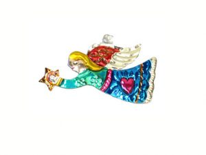 Angel Flying w/Star, punched tin Christmas ornament