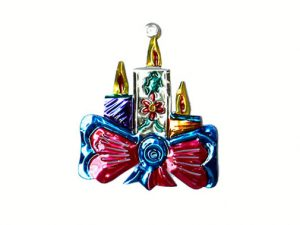 Candles with Ribbon Bow, tin Christmas ornament