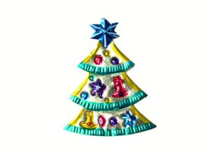Christmas Tree, flat tin ornament, silver color