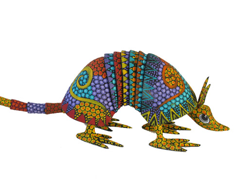 Armadillo by Tribus Mixes, Oaxacan Wood Carving, orange face, 10-inch long