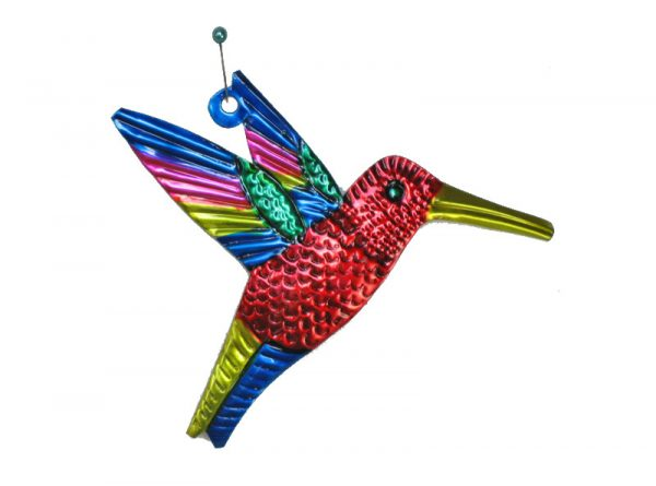 Hummingbird, Mexican painted tin figure, red