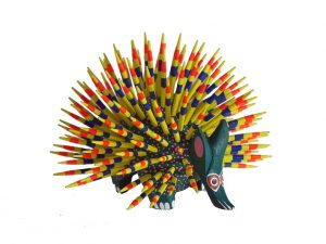 Porcupine, Oaxacan Wood Carving, yellow quills, 3.5-inch diameter