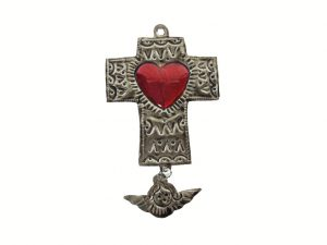 Tin Cross with Red Heart, Milagro Angel