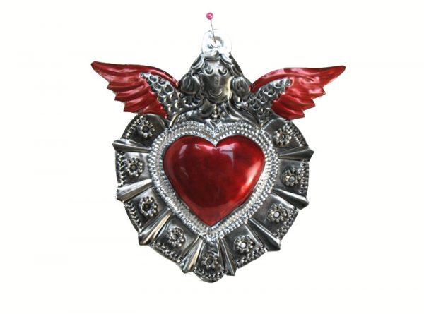 Heart With Angel, tin wall decor, 5-inch