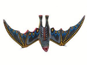 Hanging Bat, Oaxacan Wood Carving, grey/blue