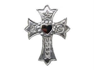 Tin Cross with Heart Mirror, unpainted