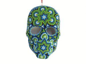 Huichol Art, Beaded Face Mask #2, green, 10-inch tall