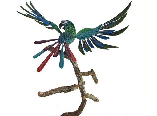 Parrot on Branch by Tribus Mixes, wood figure