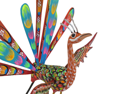 Peacock by Tribus Mixes, Oaxacan Wood Carving, 8-inch, brown
