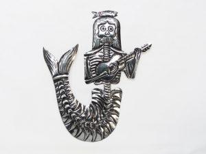 Skeleton Mermaid with Mandolin, tin wall plaque, 10-inch