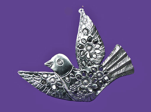 Bird with cut flowers, tin wall decor, 12 inches