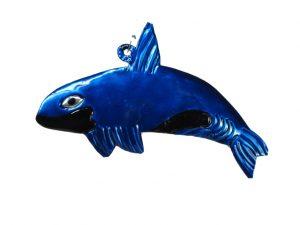 Whale, blue, tin ornament