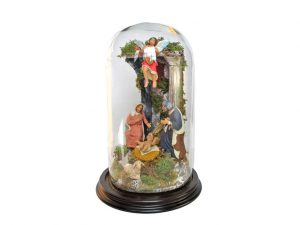 Glass-Domed Neapolitan Nativity Scene, 28 cm. (11-inch) tall