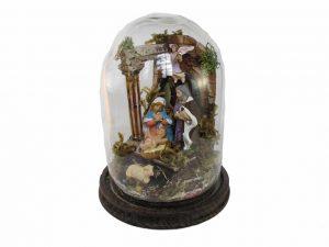Neapolitan Nativity Scene, under glass dome, 18 cm. tall.
