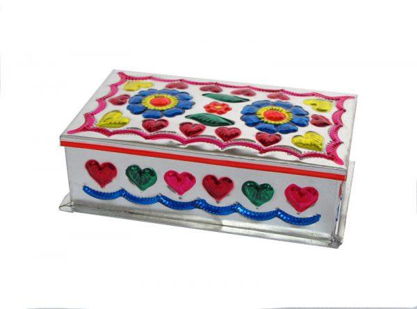 Embossed Tin Box, Design #2, (2 flowers), 6 inch long