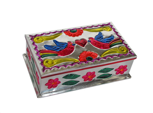 Embossed Tin Box, Design #3, (Love Birds), 6 inch long