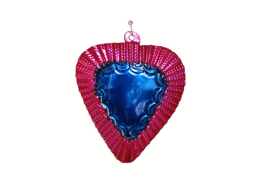 Heart Ornament, Pink/Blue, painted tin art by FA