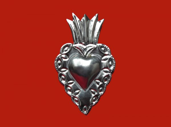 "Tin Heart Ornament ""Corazón Con Flama,"" by Conrado, 6-inch tall"