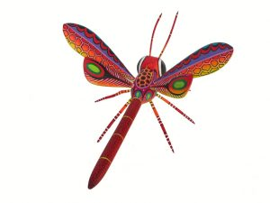 Dragonfly Alebrije by Blas Family, red/yellow, 10-inch long, 4 wings