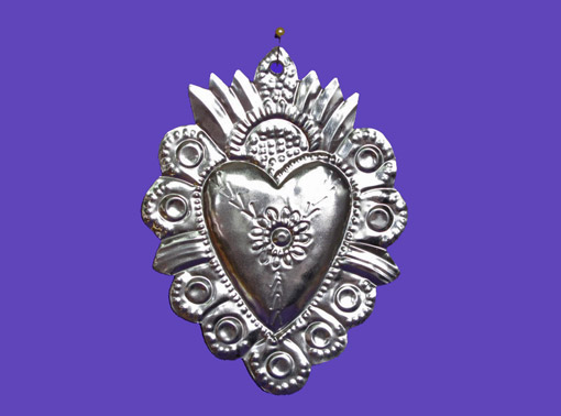 Tin Heart Ornament, wall decor by Carlos, 6-inch tall, style #2