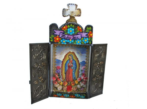Mexican Tin Nicho, Lady of Guadalupe in frame with closable doors