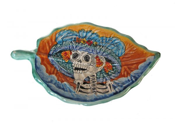 Skeleton Catrina Face, on Leaf Serving Dish, Hand-painted Mayólica, 11-inch