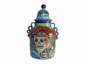 Catrina Face, Hand-Painted Mayólica Urn, 8 inches