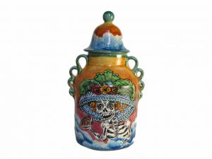 Catrina Face, Hand-Painted Mayólica Urn, 8 inches, #2