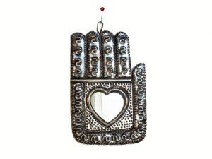 Chamsa Hand (squared), w/heart-shaped mirror, tin plaque