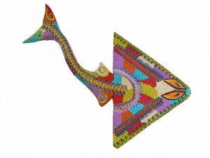 Manta Ray #2 by Tribus Mixes, Wood Carved Animal, Wall Decor, 17-inch long