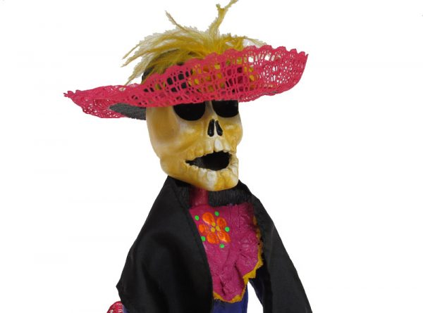 Catrina with Shawl, paper mache art by Betsabe Orozco