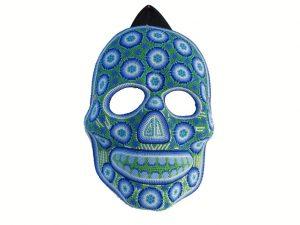 Huichol Art, Beaded Face Mask #4, blue, 10-inch tall