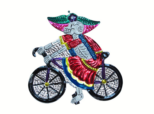 Catrina on Bicycle, Mexican tin wall art, red, 6.5-inch long