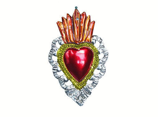 Heart Decoration, scalloped border, orange flame, Mexican Ti Art by FA