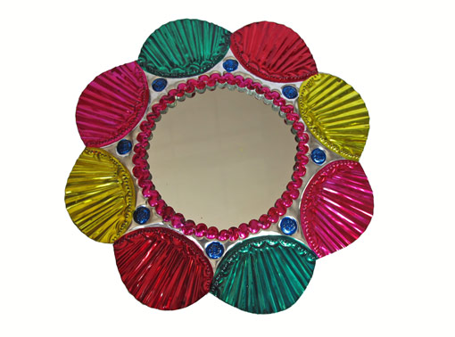 Tin Frame With Mirror, candy colors, wall decor, 9-inch