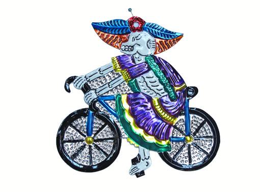 Catrina on Bicycle, Mexican tin art wall art, purple dress, 6.5-inch long