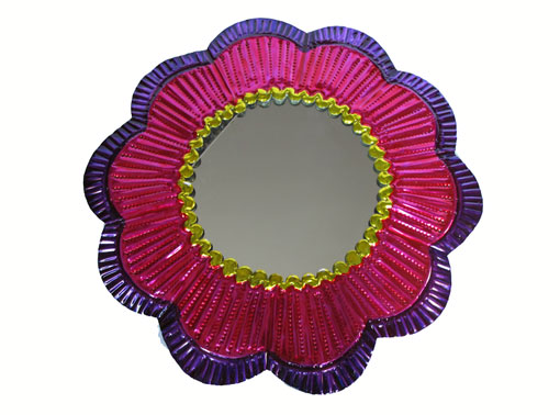Pink Frame with Mirror, Tin Wall Decor, 9-inch