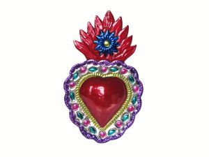 Tin Heart Wall Decor with 3D Design, 6-inch, by HG