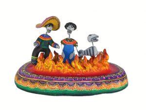 Skeleton Family in Purgatory, polychrome pottery
