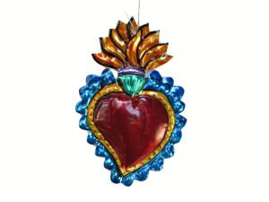 Flaming Heart Tin Ornament, blue border, 4 1/2-inch