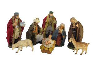 Neapolitan Presepio Nativity Set, 8-piece, clothed