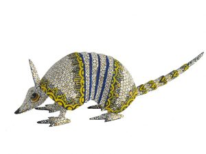 Armadillo By Tribus Mixes, Oaxaca Alebrije Carving, white/yellow, 8 1/2-inch long