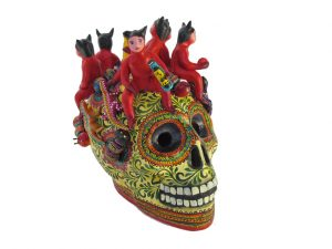 Mexican Pottery Skull with Drinking Devils