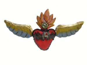 Tin Heart with Angel Wings, 3D wall decor, 12-inch